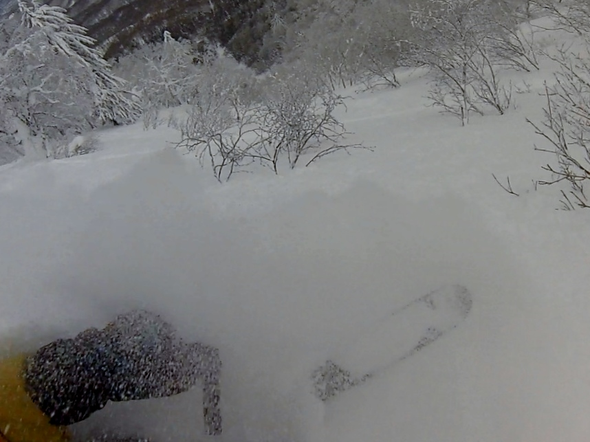 Faceshot incoming. Windscreen-wiper goggle conditions. © The Powder Project Pty Ltd