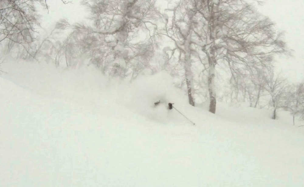 Terrible visibility + great snow = good times. © The Powder Project Pty Ltd