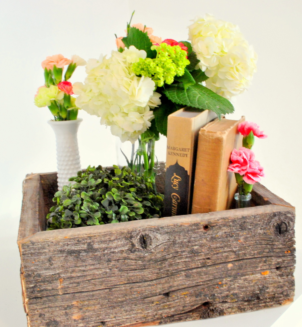 Barn Wood Centerpiece Decor Box.