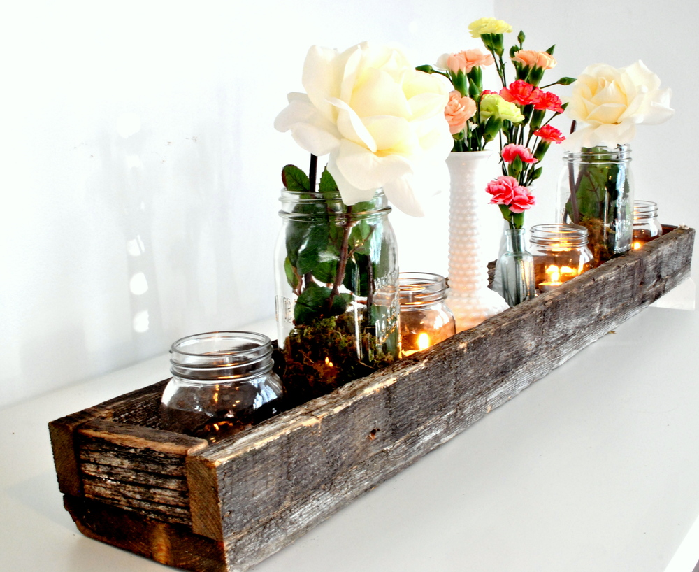 Barn Wood Centerpiece Long Box
