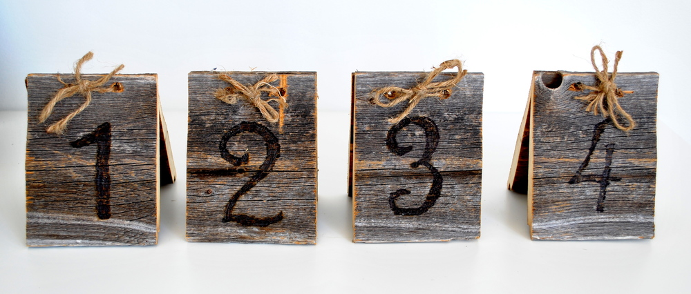 Wood Burned Barn Wood Table Numbers