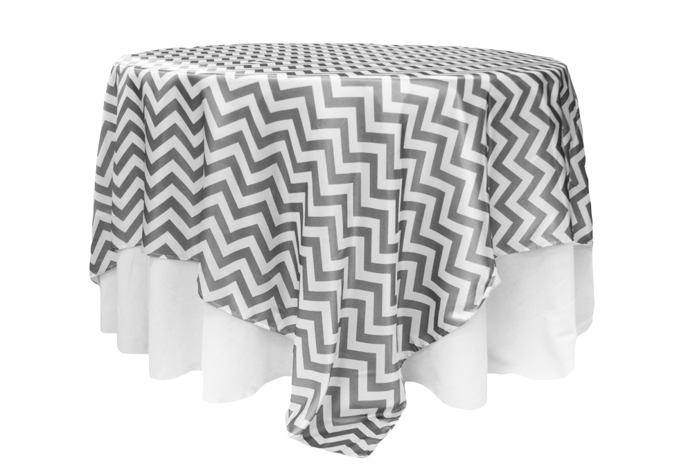 Grey and White Chevron (Satin)