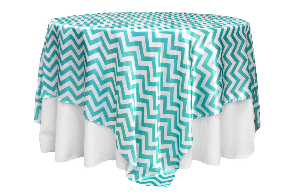 Aqua and White Chevron (Satin)