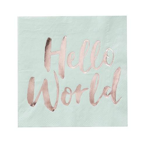 Hello World Baby Shower Napkins
