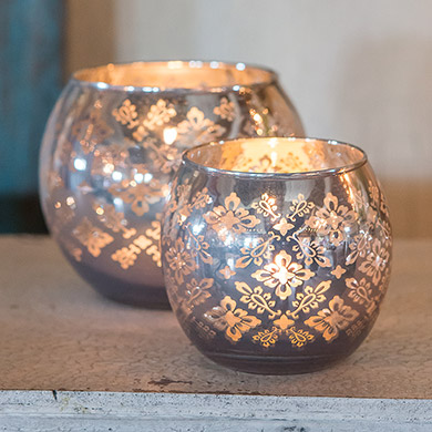 Silver Glass Globe Candle Holder with Reflective Lace Pattern