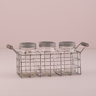 Vintage Inspired Mason Jar Set with Metal Caged Holder