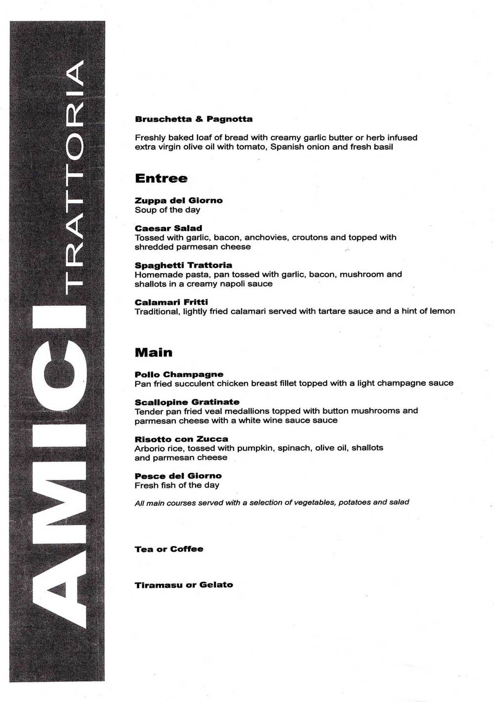 Amici Trattoria menu for the night