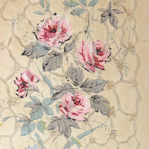 Beautiful old wallpaper found during the renovation of a rectory we researched #house #househistory #househistories #English #Rectory #Interiors #Wallpaper #History #Property #PropertyHistory #Distressed #Renovation #HouseRenovation #OldHouse #OldProperty #Decorating #Roses #Botanical