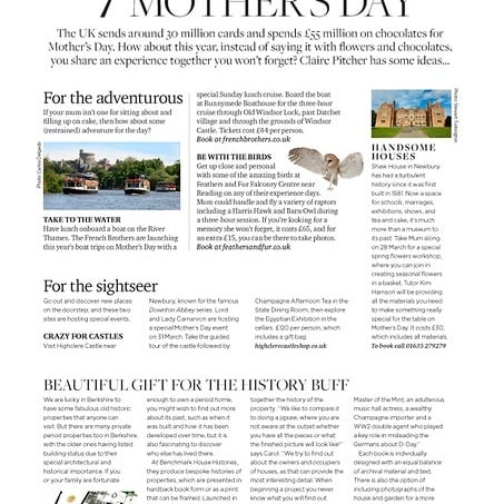 """OUT NOW! One of the """"7 marvellous ideas for Mother's Day"""" in March issue of Berkshire Life magazine! Read full piece on our website blog (address in profile)! #househistories #propertyhistories #propertyhistory #oldhouses #goldproperty #goldproperties #mothersday #mothersdaygiftideas #mothersdaygifts #mothersdaygiftideas #historichouse #historichouses #architecturalhistory #architecturalhistorian #britishhouses #thestoryofyourhouse #thestoryofyourhouse #propertyportraits #giftideasforthosewhohaveeverything #anniversarygiftideas #birthdaygiftideas #sarahrodi #berkshirehouses #berkshireproperties #berkshire #berkshirelife #carolfulton #berkshirelifemagazine #benchmarkhousehistories"""