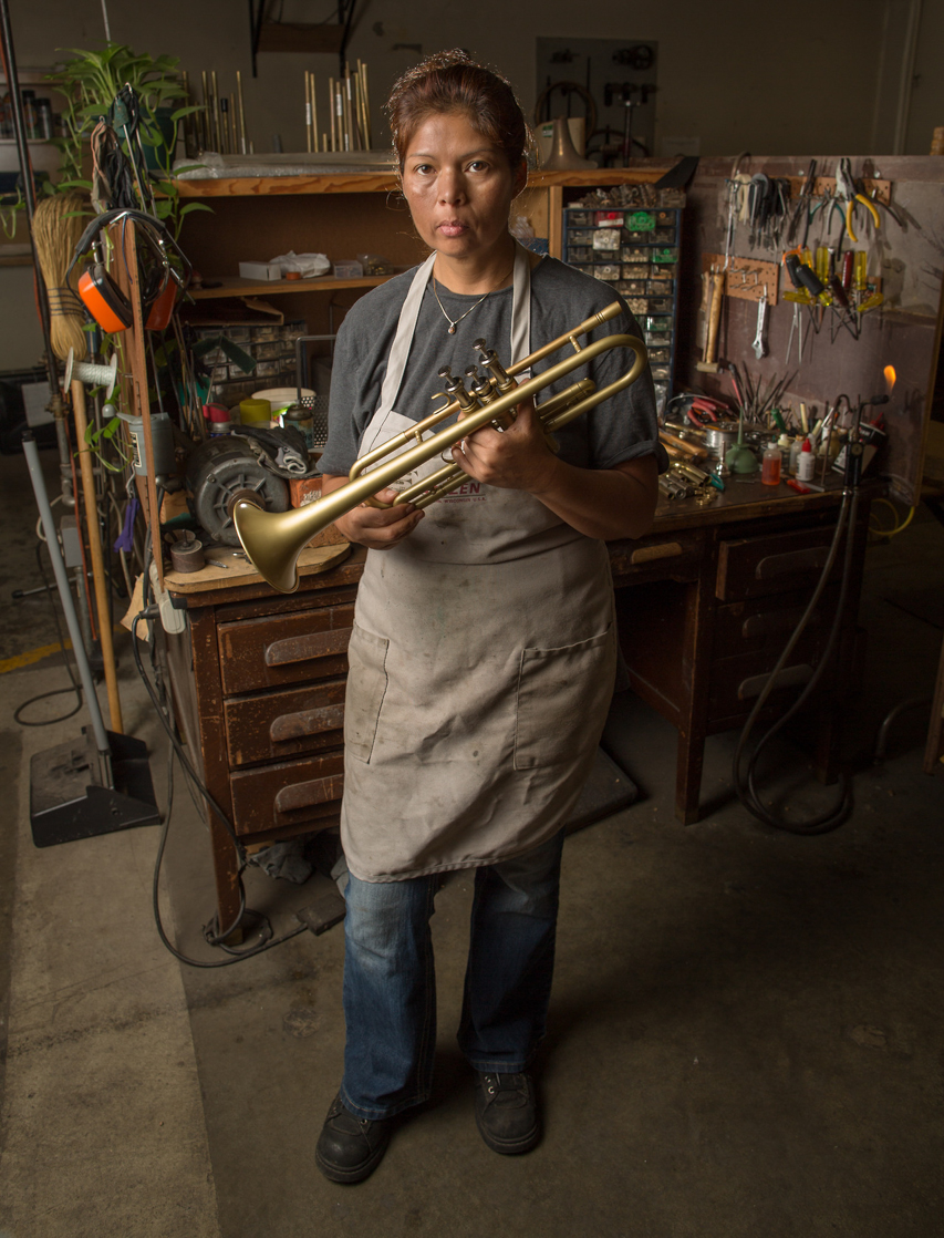 Patricia Moreno, a brass repair technician in the Los Angeles Unified School District's Music Repair Shop.