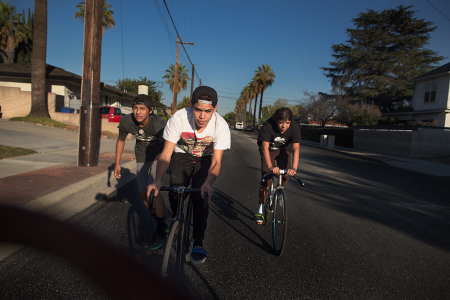 Damian spends almost all his time outside school riding through the streets of Pomona with his crew. His cousin David (right) lives a few houses down. They're usually inseparable.