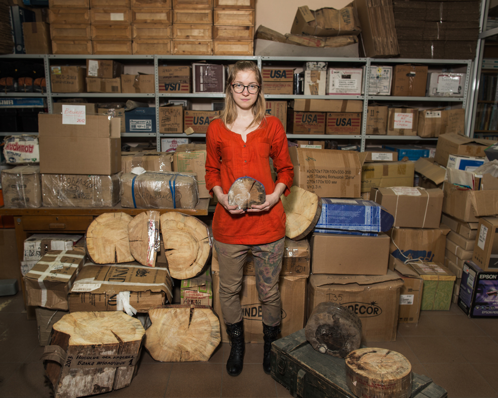 Maya Sidorova, a dendrochronology graduate student, with the Institute of Paleontology's collection of tree-ring samples.