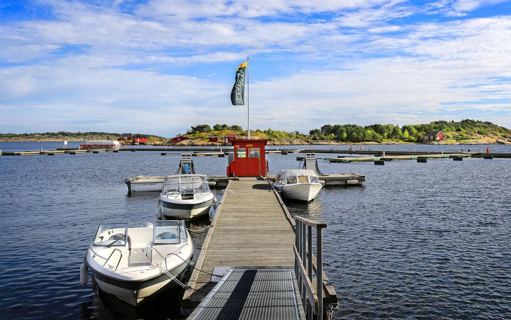 Marinaen ligger lett tilgjengelig i Skjærhaldens havnebasseng.