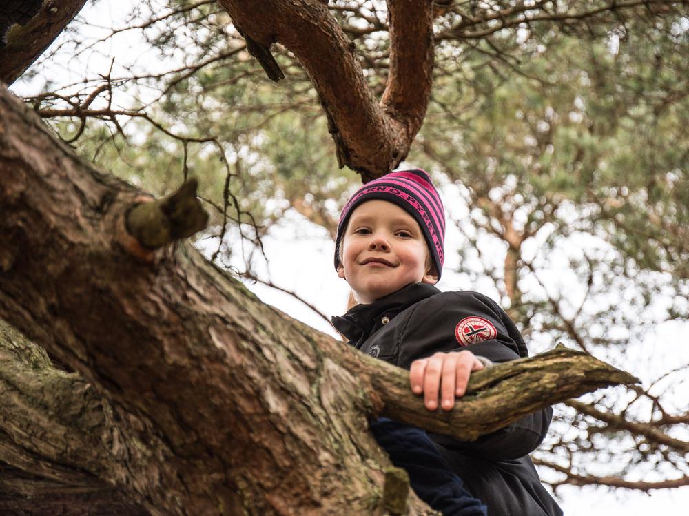 Det var også tid til skravling, lek og klatring i trær. Både barn og voksne så ut til å ha en trivelig dag, og det blir nok flere av disse i Friluftslivets år.