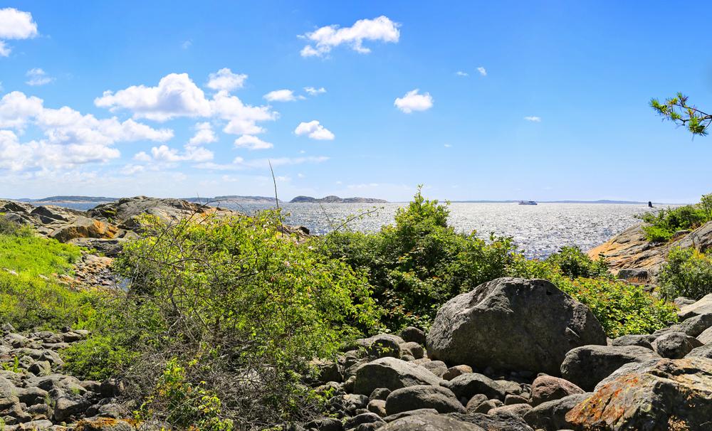 Gjølertangen Naturreservat. Sverige og MS Vesleø i bakgrunn.