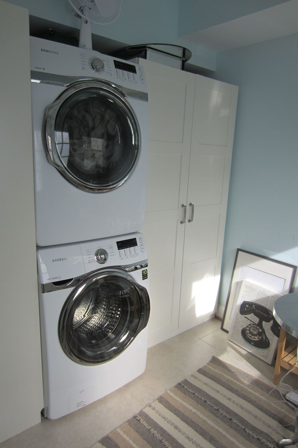 Samsung stacking washer and dryer and Ikea wardrobe