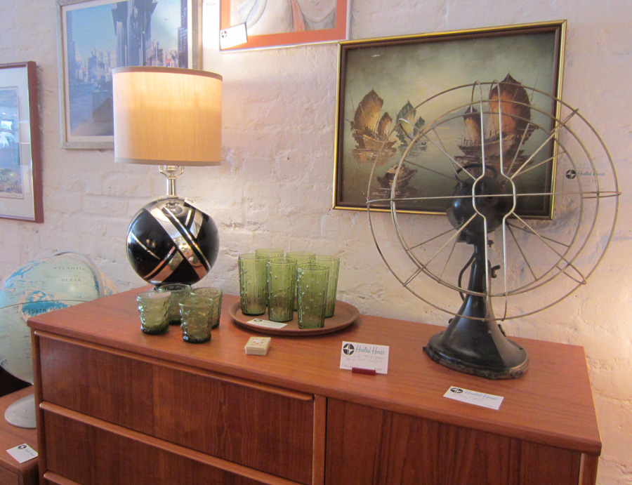 Danish Armoir with vintage fan and bowling ball lamp