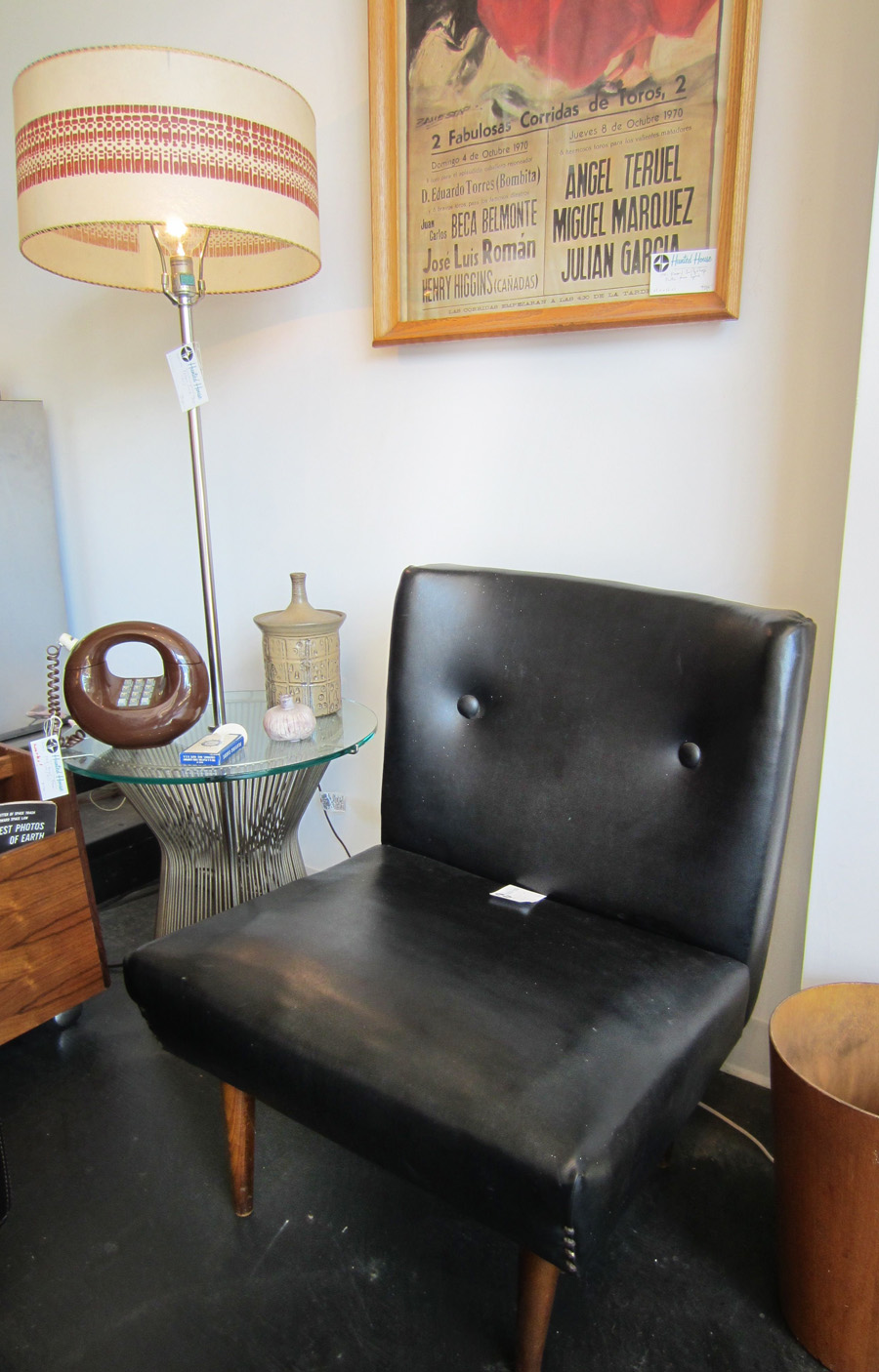 Mid century Black leather slipper chair