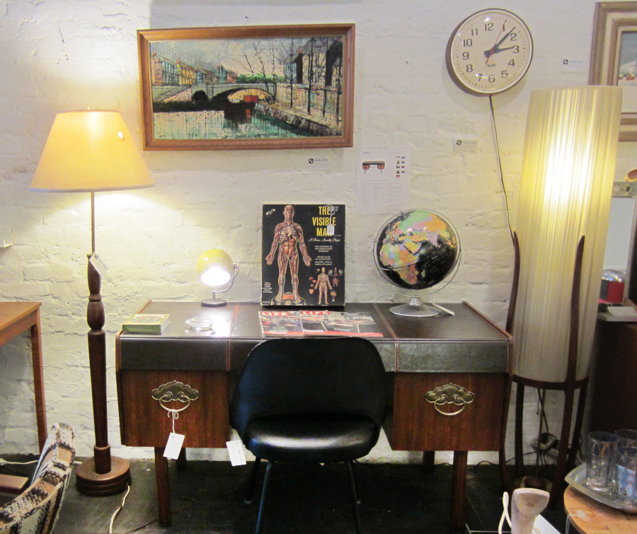 Retro leather desk and chair