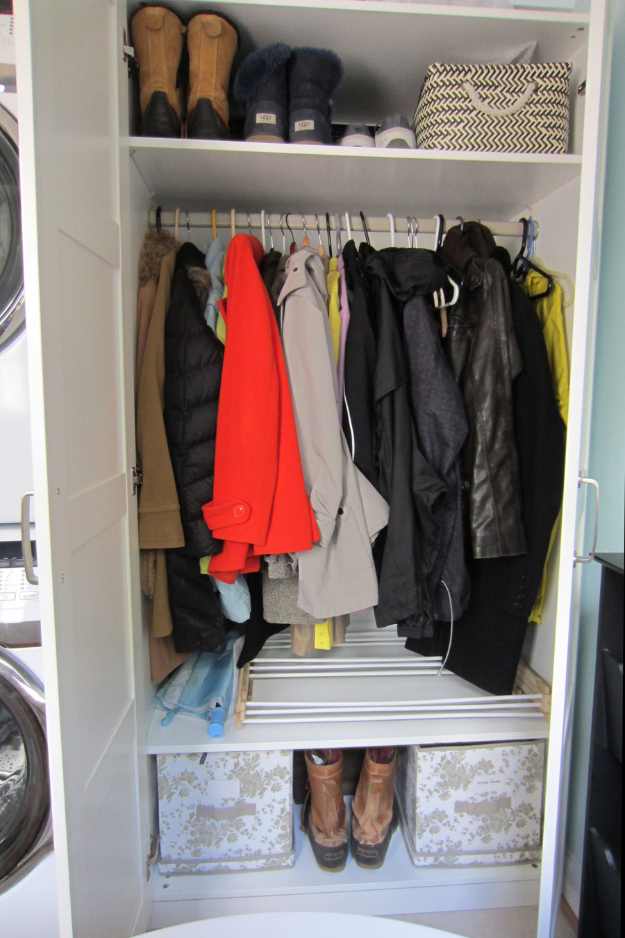 Ikea PAX wardrobe used as a coat closet