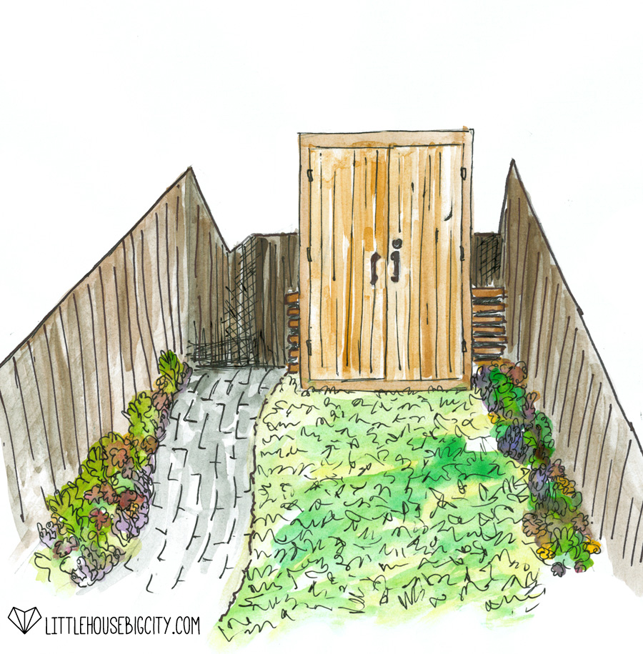 Plans for the back yard include installing a paver path, creating a parking spot and building a tool shed.