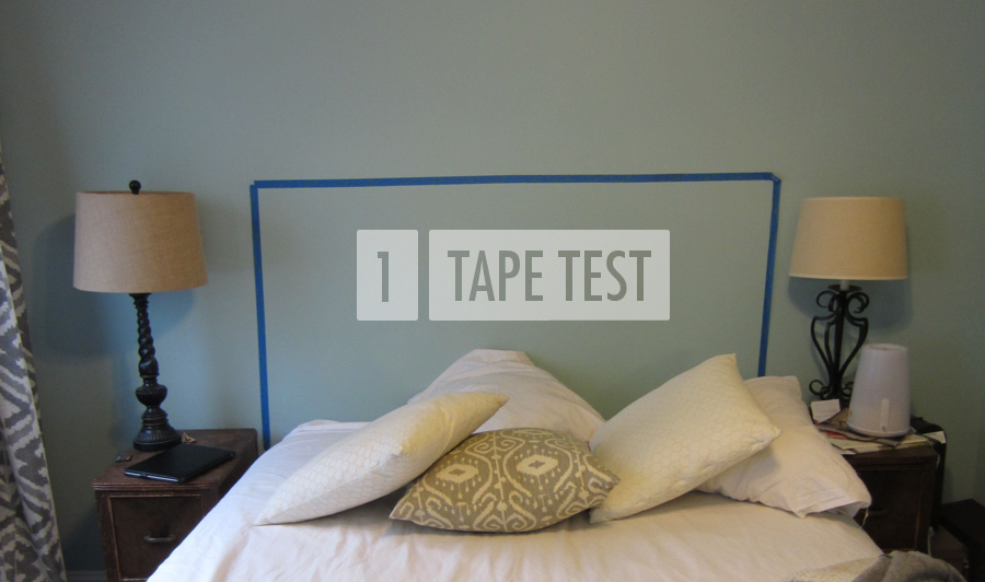 Step 1: Use tape to decide on final dimensions for your DIY headboard