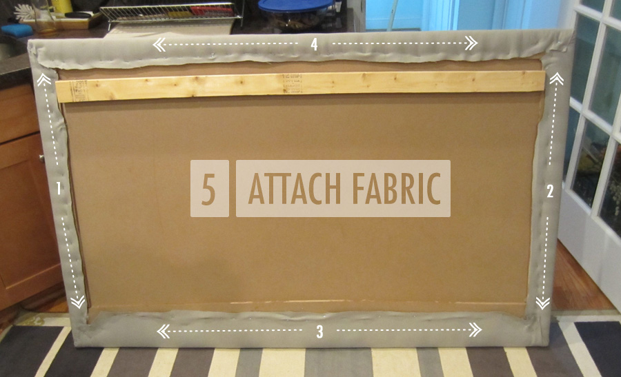 Step 5: Attach the fabric to the upholstered headboard with a staple gun