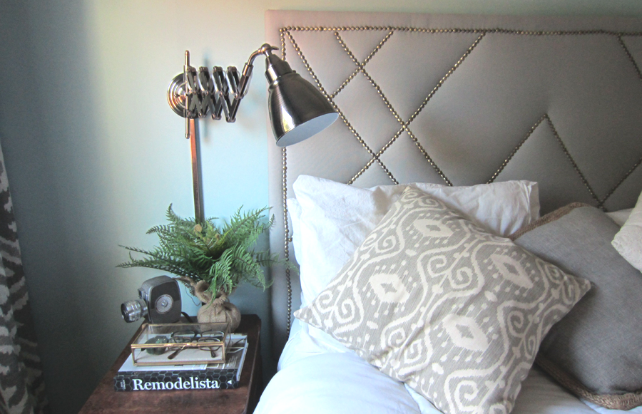 My new accordion sconce light fixture is the perfect bedside night light