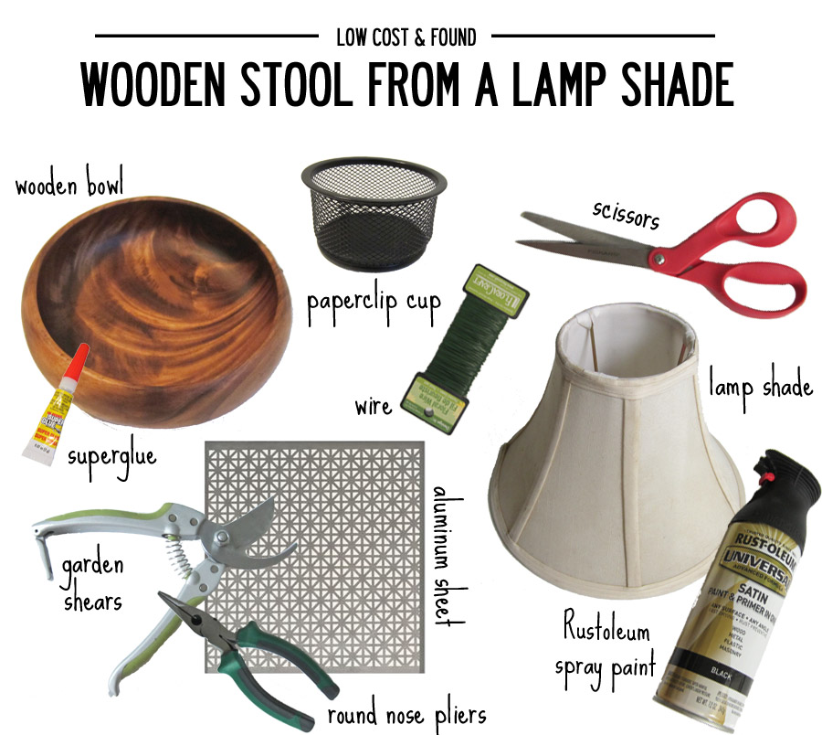 Supplies you'll need for this DIY to turn a lamp shade and wooden bowl into a decorative stool