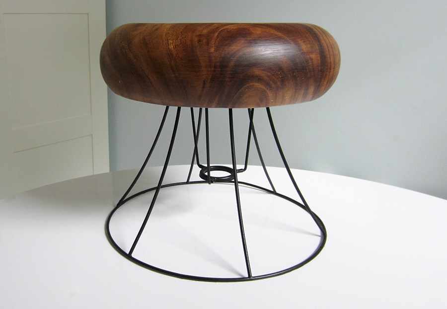 A DIY project, making a stool from a lampshade and a wooden bowl