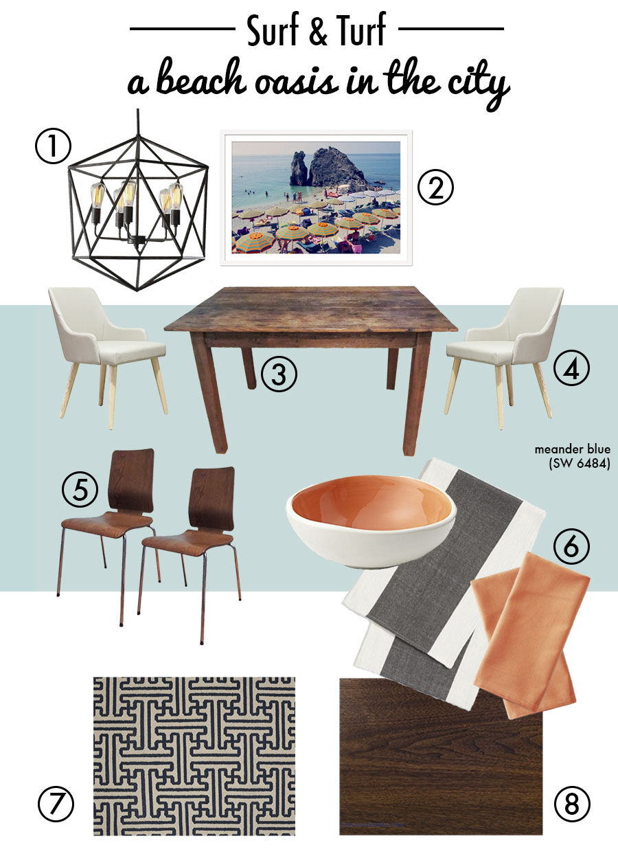 A mood board of the beachy yet modern vibe I'm striving for in the dining area