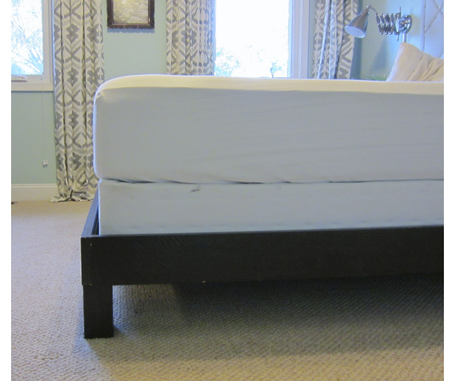 one corner of the finished frame with boxspring and mattress