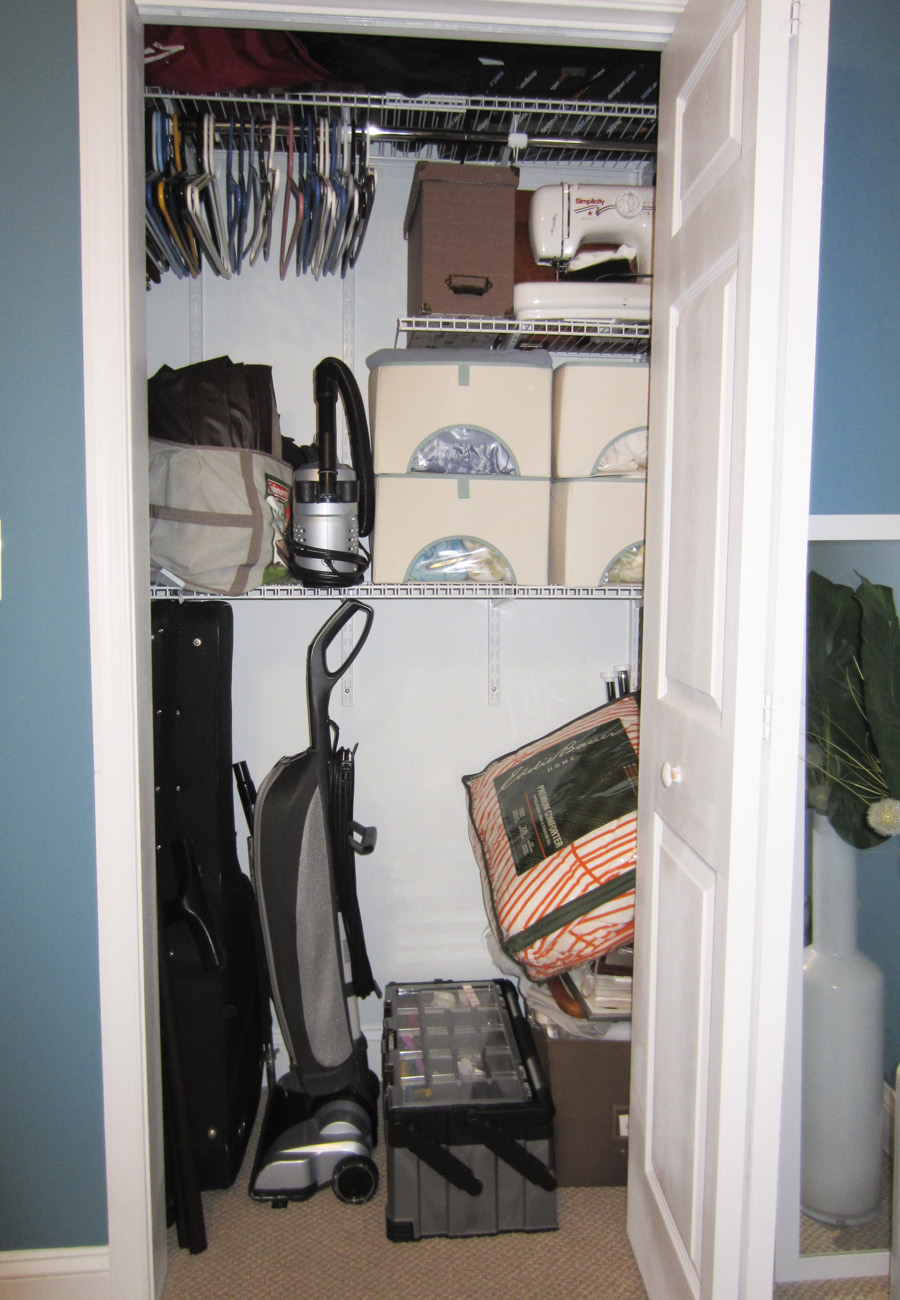 Guest room closet – how we currently store all our guest bedding, linens and other odds and ends