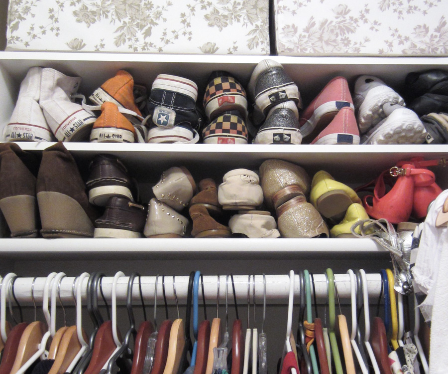 Storing shoes at eye level makes it more likely you'll keep them organized