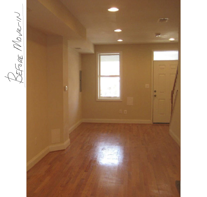 What our house looked like before we bought it – very orangey oak floors