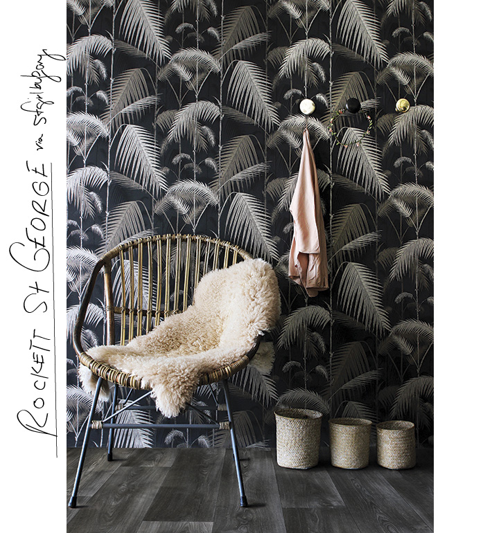 Love everything from the gray brown floors to the wallpaper and decor. via @sfgirlbybay and rockett st george