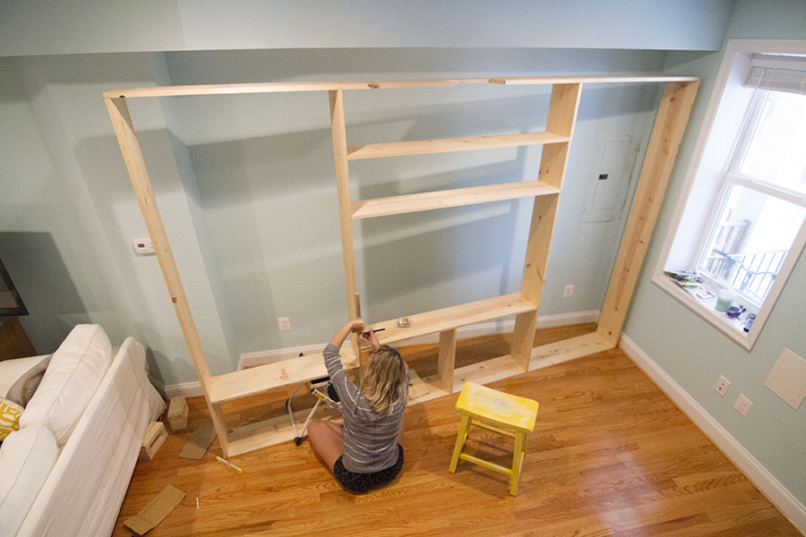 Constructing custom built-in bookcases