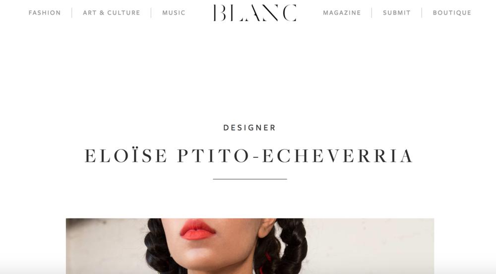 Blanc Magazine, 2017.     Read here.