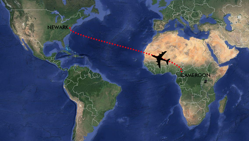 From Cameroon to USA. Map courtesy of Google Maps.