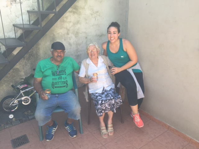Camille with some of the Cristo Rey family while we restored furniture.