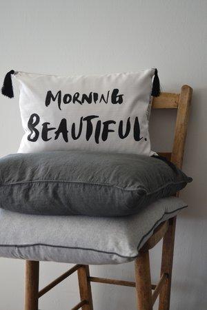 Morning Beautiful cushion £24.99 | Linen cushion in slate grey £32 | Brushed cotton cushion £40
