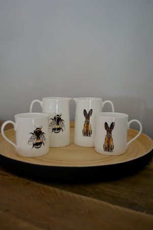 Black matt lacquer bamboo tray £36 | Bee and Hair fine bone china mugs £12.95 | Bee and Hare fine bone china 1 pint jugs £21.50