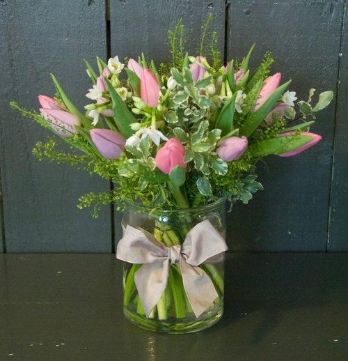 Pastel Spring Flowers Vase Stems