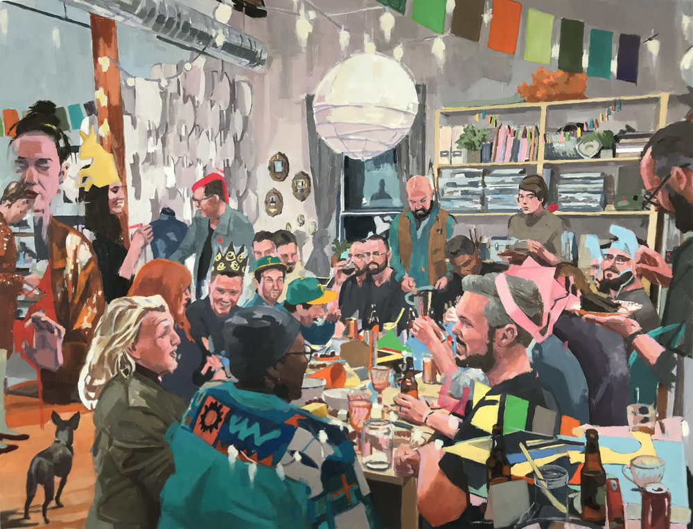 Birthday Party, Oil on Panel 24x36""