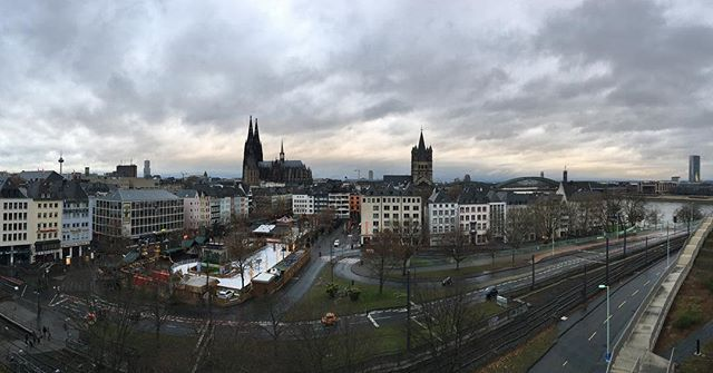 A panorama of Cologne this morning from the balcony of our hotel. #unfiltered