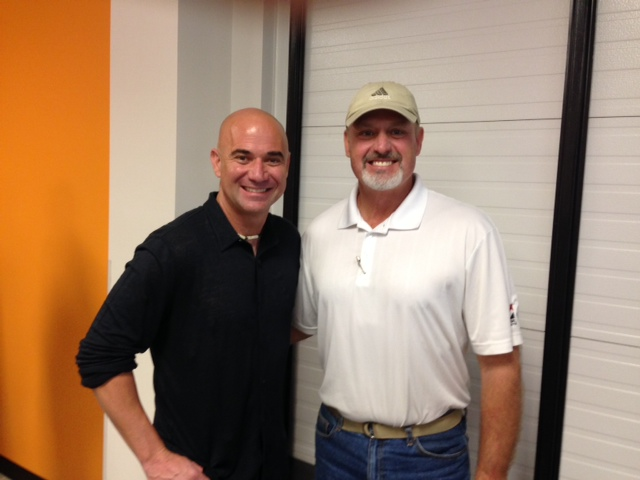 D.F. Chase, Inc. Superintendent, Duane West gives Andre Agassi a tour of the new facility.