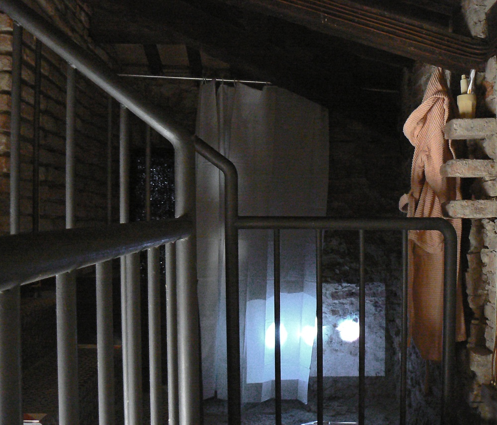 "GAIA ZUFFAE0W_6564.mov,1' 51"" loop, and bathroom props2011. Installed atFerrara,La Porta degli Angeli"