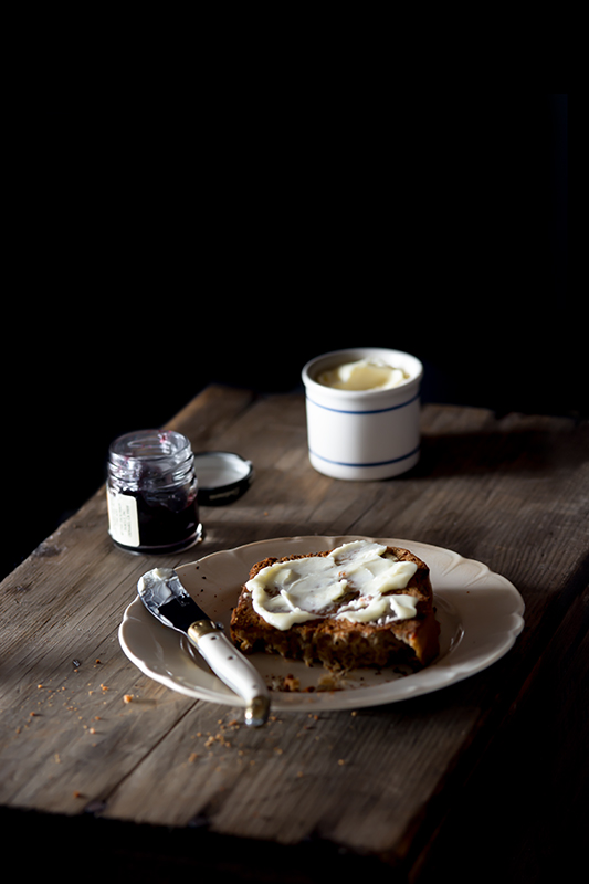 Banana Bread with Butter and Jam Food Stock Photo