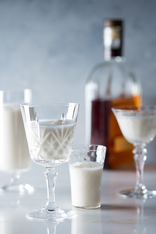 Bourbon Milk Punch in Glasses Stock Photo