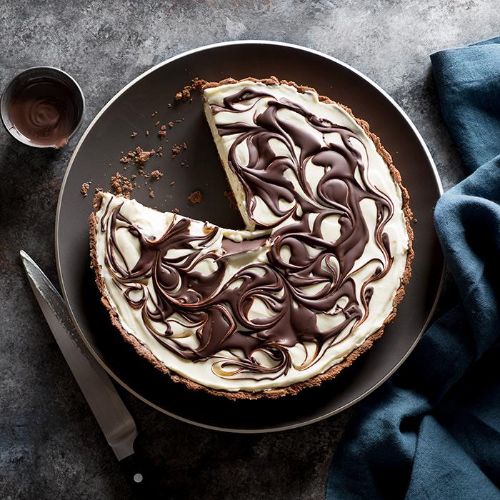 Chocolate Swirl Cheesecake Tart Food Stock Photo